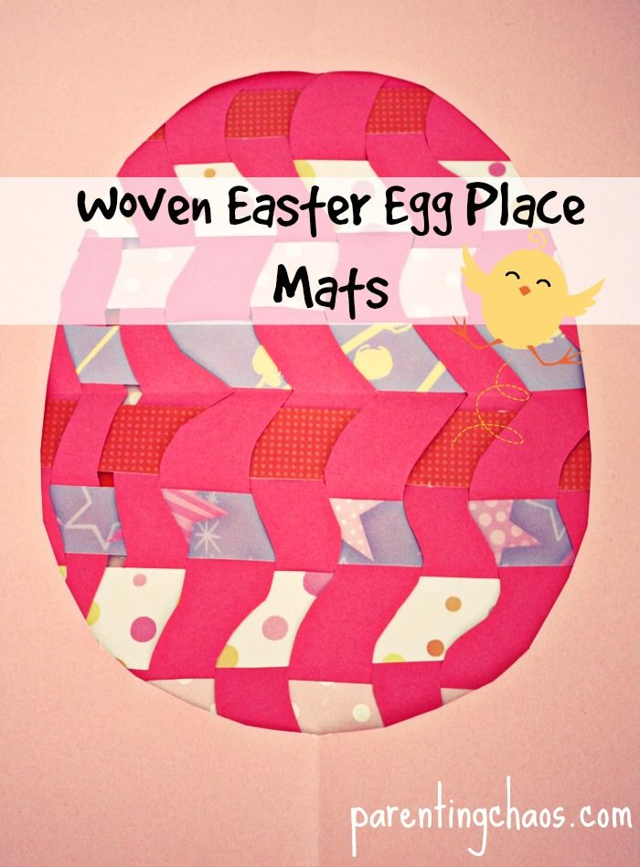 Woven Easter Egg Place Mats - can make any shape, doesn't have to be egg shaped. Bunny? Chick?