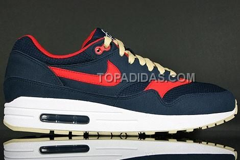 http://www.topadidas.com/nike-air-max-1-essential-mens-trainers-dark-blue-red-gold-beige.html Only$51.00 #NIKE AIR MAX 1 ESSENTIAL MEN'S TRAINERS DARK BLUE RED GOLD BEIGE #Free #Shipping!