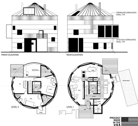 Creating cylindrical prefab homes from renovated grain Circle house plans