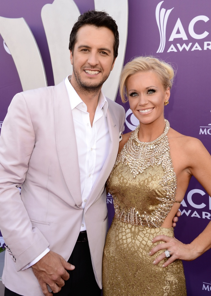 Luke Bryan Host Luke Bryan And Caroline Boyer Attend The 48th Annual Academy Of Country Music