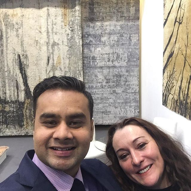 Happy to be in the right company.  Extremely talented #designer & my neighbor at @domotex_hannover - K. Michelle Evans.  #Domotex2017 #StandD33 #Hall17 #RugsBySambhav #Hannover #Germany #MakeInIndia #HomeDecor #Handmade #LuxuryInteriors #Interior #Instalikes #Carpets #Rugs #InteriorDecor #Flooring