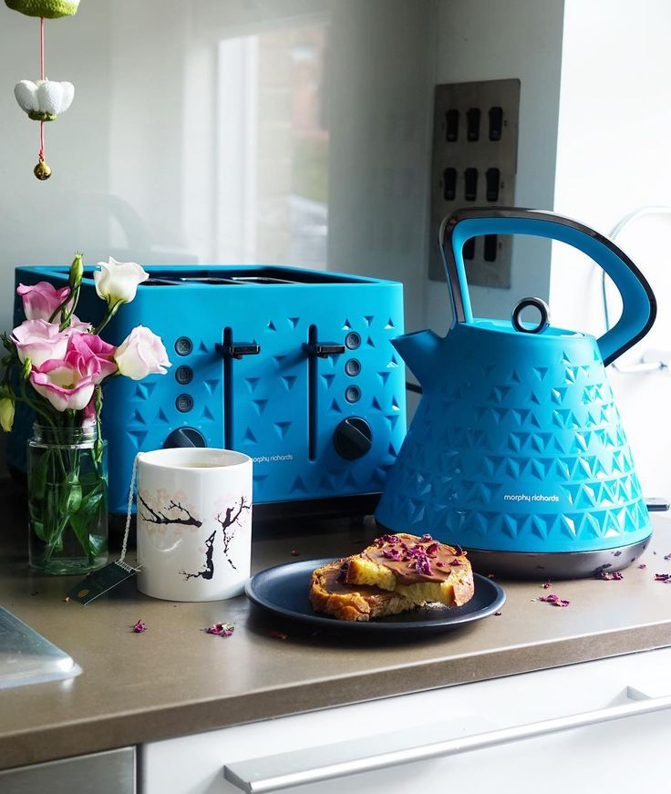 Add a pop of colour to your kitchen with the Morphy Richards Prism Kettle and Toaster #byktl