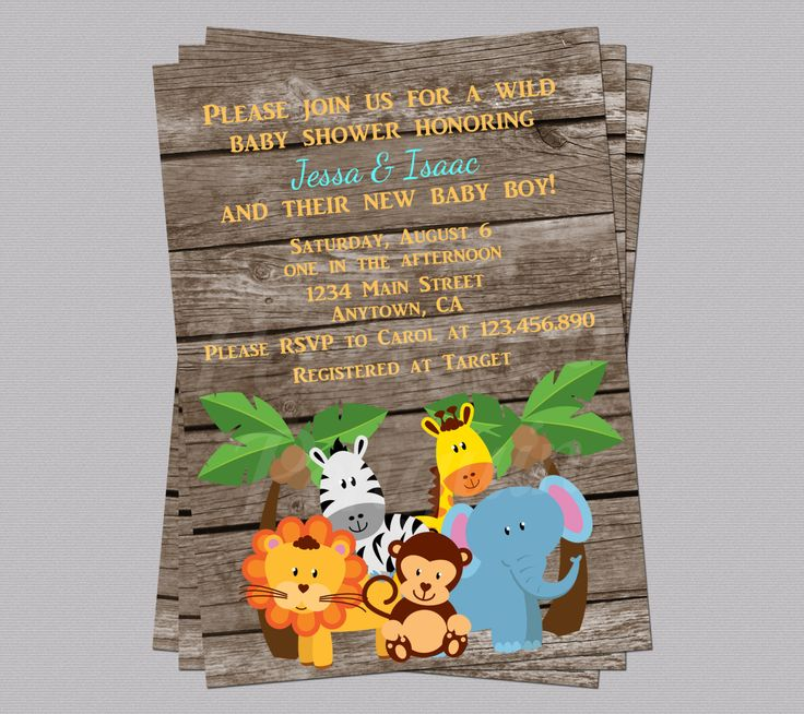"Jungle animals on a rustic wood background are great for a shower for a baby boy. **This listing is for one high resolution (300 dpi) 5""x7"" or 4""x6"" printable invitation designed by Peekaboo Penguin. The product will be emailed to you. No physical copy will be sent to you. **You will receive a JPG of your invitation within 1-3 business days (Monday through Friday only). It will be sent to the email address you have on file with Etsy unless you request otherwise before the first proof is…"