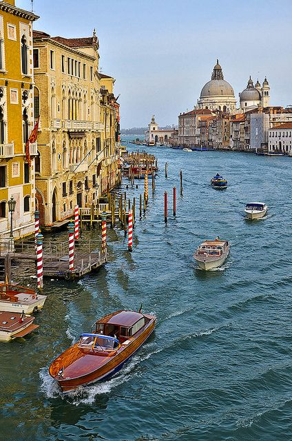 The Grand Canal, Venice. Visited Venice for the first time when I was 17 while interrailing round Europe. Lay out in the sun and fell asleep with Sun In in my hair - woke up and it was orange....