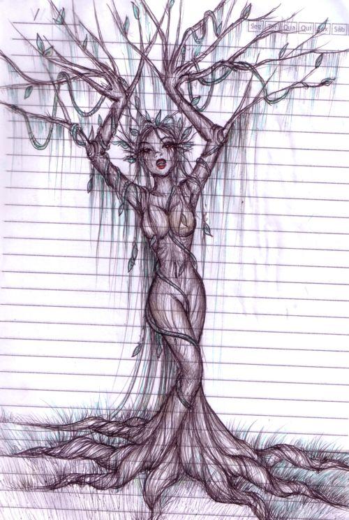 tree woman drawing   tree woman by mykanazario on deviantART