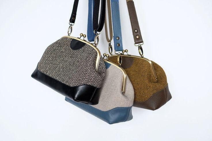 Купить Твидовая сумка с двойным фермуаром в интернет магазине на Ярмарке Мастеров