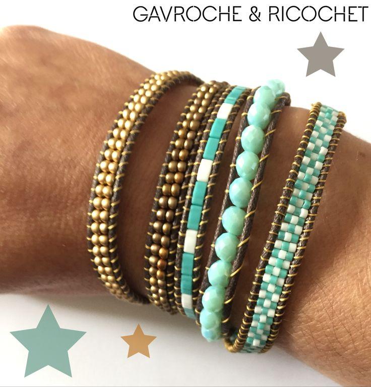 Bracelet wrap multirangs 5 tours Turquoise bronze et blanc