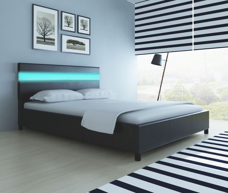4ft6 Double Bed Frame with Slats Multicolored LED Lights Black Faux Leather Bed
