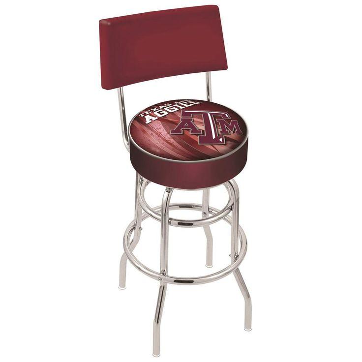 Texas A&M Aggies Polished Chrome Swivel Back Bar Stool