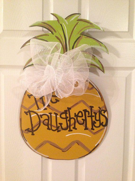 Pineapple summer door hanger wooden wreath wood cut out for Pineapple outdoor decor