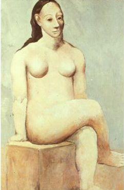 <여인 좌상>, 피카소, 1908 에바 구엘을 만나고 난 후 피카소의 그림의 분위기는 따뜻한 색조 표현으로 분위기가 바뀐다. 이 시기를 'pink period'라고 한다. 인체표현이 잘 나타나지 않으며 신체를 원통, 반구 등 기하학적으로 단순화시킨다. 또한 서구적인 여인의 얼굴이 진부하다고 느껴 더 생동감 있는 모습인 아프리카 여인의 얼굴을 그린다. 이 여인의 모습은 정면이지만 옆모습이 나타나고 있어 특이한 생김새가 되었다.