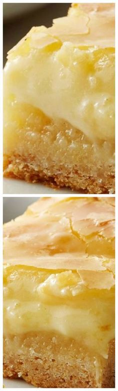 Ooey Gooey Butter Cake Bars ~ Sweet vanilla cake is topped with a gooey cream cheese layer that's butterlicious.... It takes vanilla cake mix, turns it into a soft, splendidly sweet base, then tops it with a truly delicious cream-cheese vanilla layer that bakes until the top is ever-so-slightly crunchy and everything underneath is like custardy and brilliant.