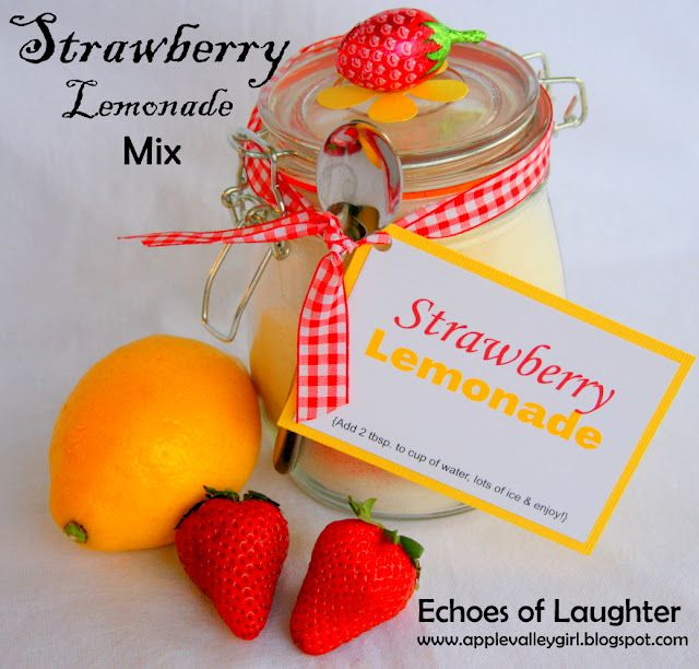 Echoes of Laughter: Summer Drinks Week: Strawberry Lemonade Mix...: Teacher Gifts, Mothers Day Gifts, Drinks Week, Summer Drinks, Gifts Ideas, Strawberries Lemonade, Lemonade Mixed, Great Gifts, Drinks Mixed
