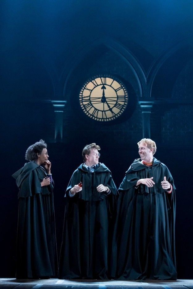 "GROWN-UP HERMIONE AND RON AND HARRY IN GROWN-UP ROBES. | ""Harry Potter And The Cursed Child"" Photos Are Here And They're So Magical"