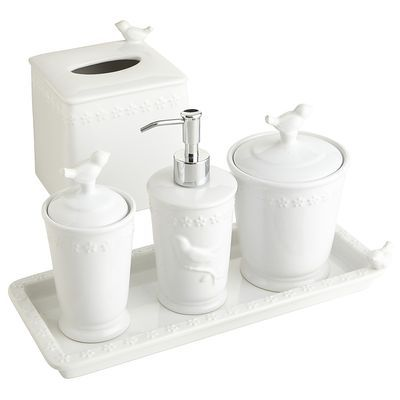 white bird stoneware bath accessories
