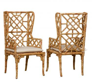 Bamboo Wing Back Chinese Chippendale Chairs - Love!