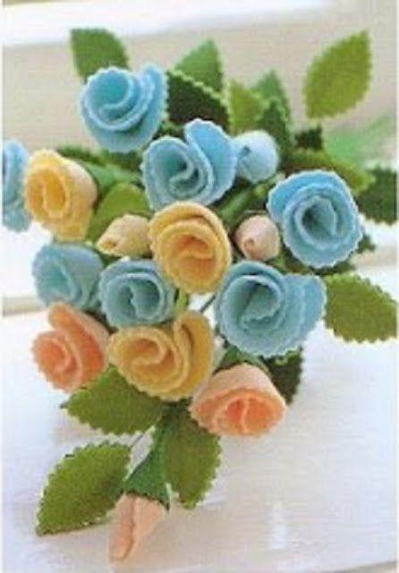 Flores em feltro - #tutorial #feltro #artesanato #molde #passoapasso #flor #flores #patrones #padroes #plantilla #modelo #crafts #manualidade #diy #blog #site #criar #fazer #dicas #moldesdefeltro #flores