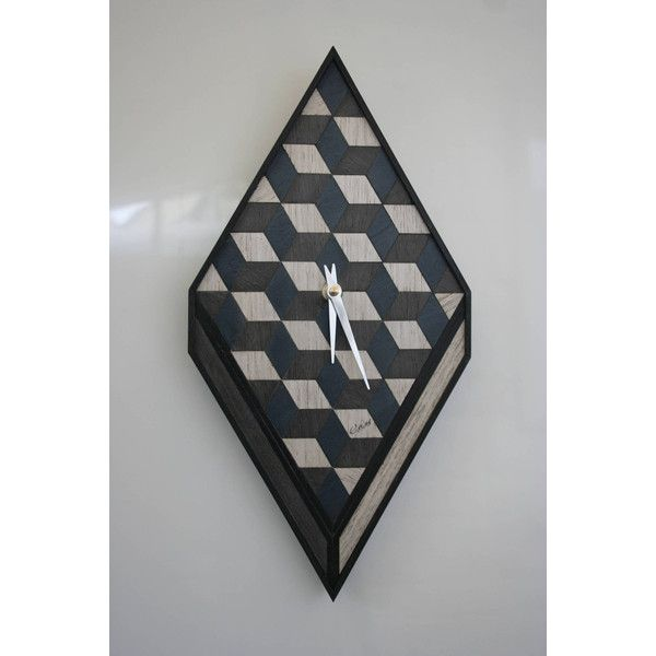 Wooden Clock Wooden Anniversary Unique Gift Wooden Art Deco Clock Wall... ($166) ❤ liked on Polyvore featuring home, home decor, clocks, grey, wooden clock, battery powered clock, battery clock, battery operated clocks, battery operated wall clocks and sun wall clock