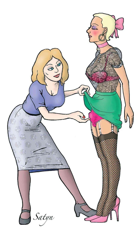 ap toon bondage Crossdresser Sissy Femdom Bondage Maid Art Tied Petticoat Sissydress  Sissycartoons