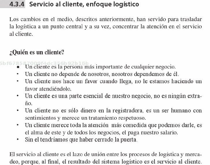 ¿Quién es un cliente? Impresión de pantalla libro: Gestión logística integral: las mejores prácticas en la cadena de abastecimientos, Mora L.A, 2010