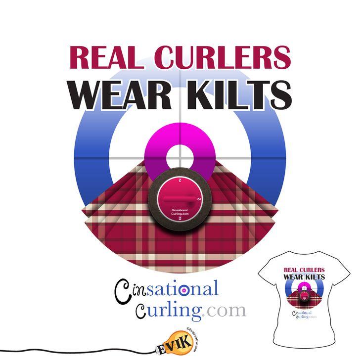 'Real Curlers Wear Kilts' T-Shirt – Design & Vector Illustration for Cinsational Curling. © 2014 CinSationalCurling.com.