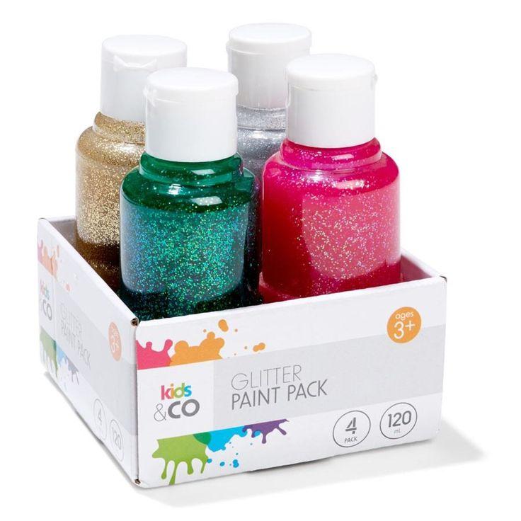 4 Pack Glitter Paint | Kmart