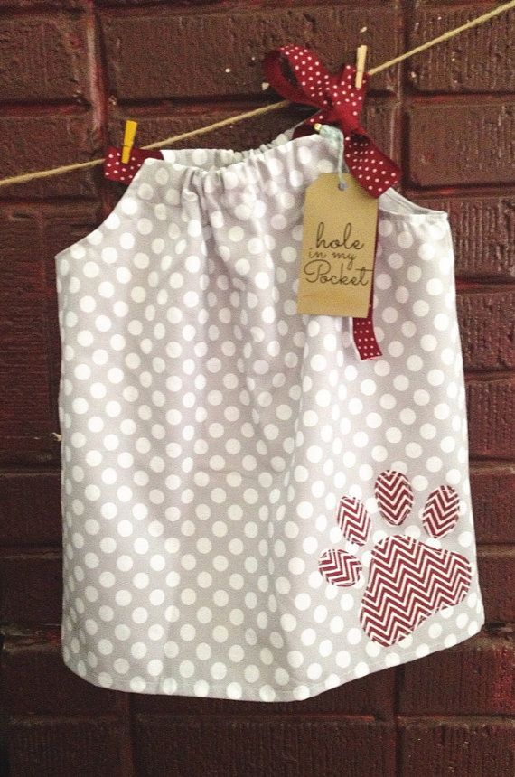 Mississippi State Bulldog Pillowcase Dress Baby Toddler with Paw Print Appliqué on Etsy, $28.00