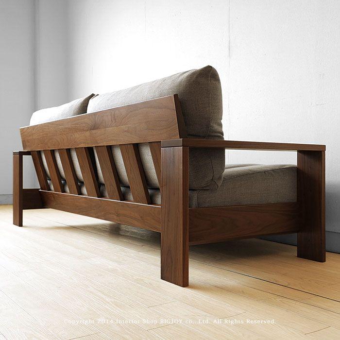 JOYSTYLE interior/商品詳細 【受注生産商品】ウォールナット材 ウォールナット無垢材 木製フレームのカバーリングソファー 国産ソファ 木製ソファ 1P 2P 3Pソファ LENOA-WN ※サイズによって金額が変わります