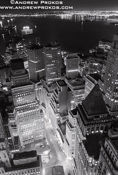 Aerial View of Lower Manhattan and New York Harbor at Night - http://andrewprokos.com/photos/black-and-white/
