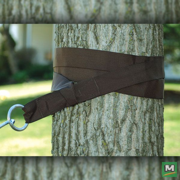 Hang your hammock anywhere with  Backyard Creations™ Tree-Friendly Hammock Straps. These heavy-duty straps wrap around the tree trucks to provide a sturdy grip without damaging the trees. Then, just attach them to your hammock with the included outdoor-plated hardware and you can enjoy lazing the day away.