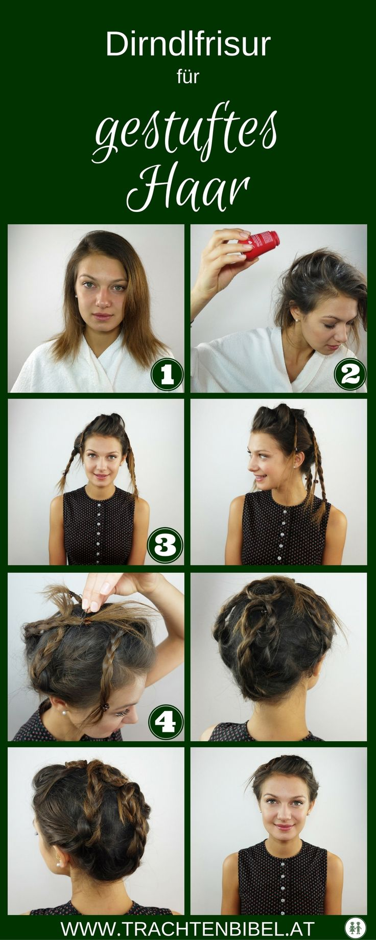 Dirndlfrisur für gestuftes Haar - einfach nachzumachen! #styling #tipp #tutorial  @trachtenbibel folgen und Tipps entdecken!