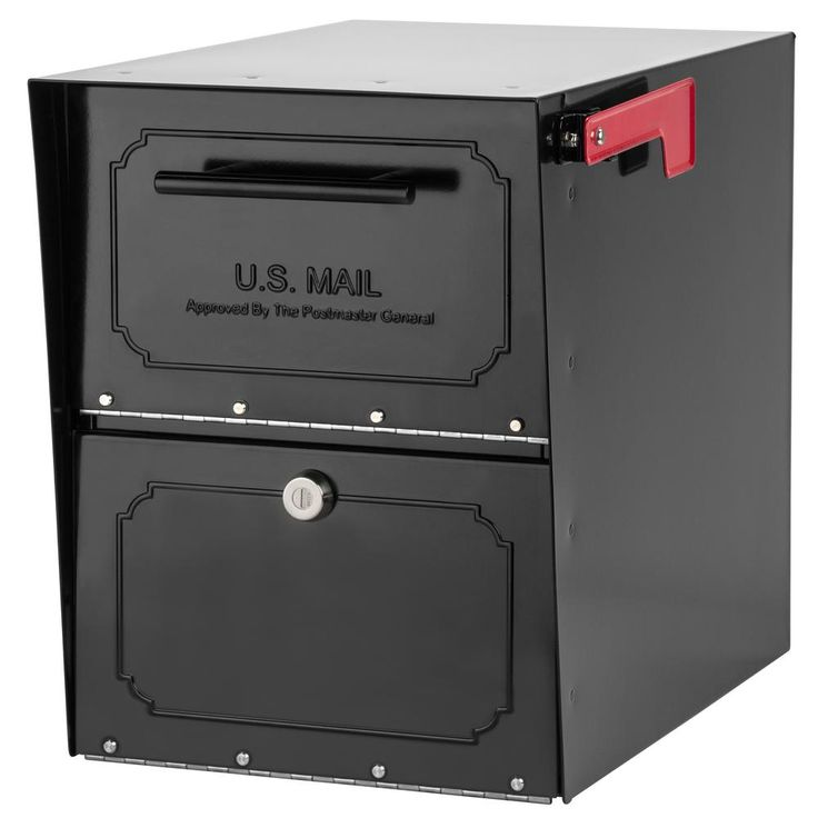 Architectural Mailboxes Oasis Classic Locking Post Mount Parcel Mailbox with High Security Reinforced Lock, Black