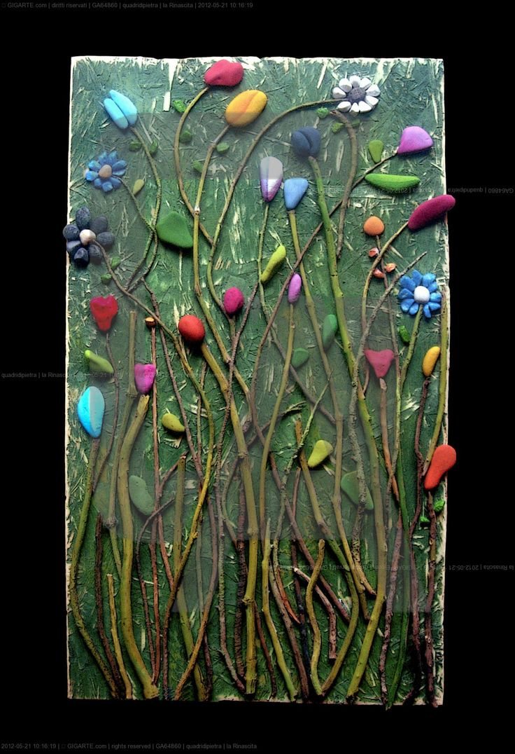 Rebirth by Michela Bufalini - Pebble Art, stones and sticks painted and glued on cnvas or board