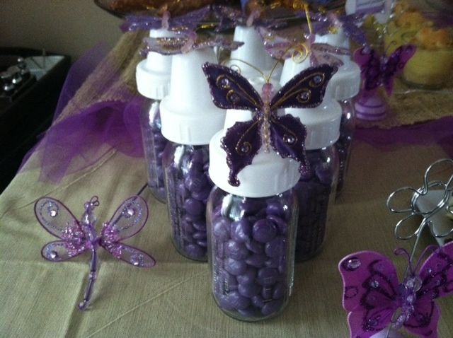 Purple butterflies baby shower party ideas party favors for Baby shower decoration butterfly