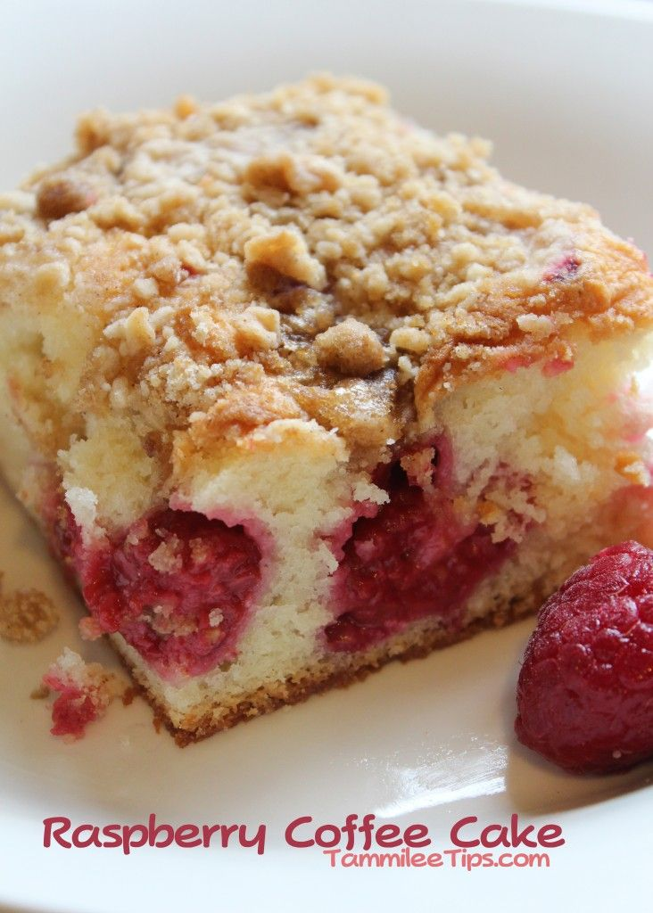 Raspberry Coffee Cake Recipe    Ingredients    Struesel  2/3 cup all purpose flour  1/2 cup packed brown sugar  1/3 cup butter, softened  1/2 tsp ground cinnamon    Cake  1 package white cake mix  1/3 cup granulated sugar  8 oz cream cheese, softened  3 eggs  1/2 cup vegetable oil  1/4 cup water  3 cups raspberries
