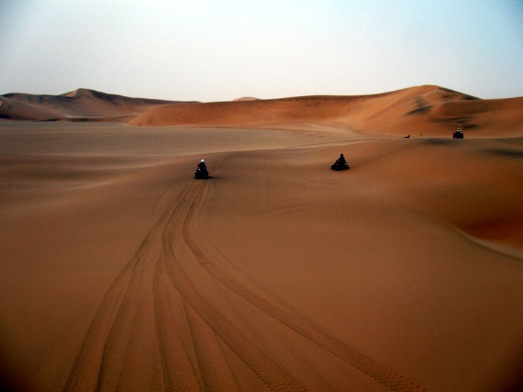 Quad biking on the sand dunes in Namibia