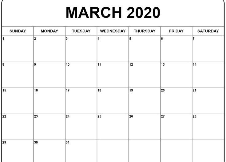 March 2020 Calendar Printable | Monthly calendar printable