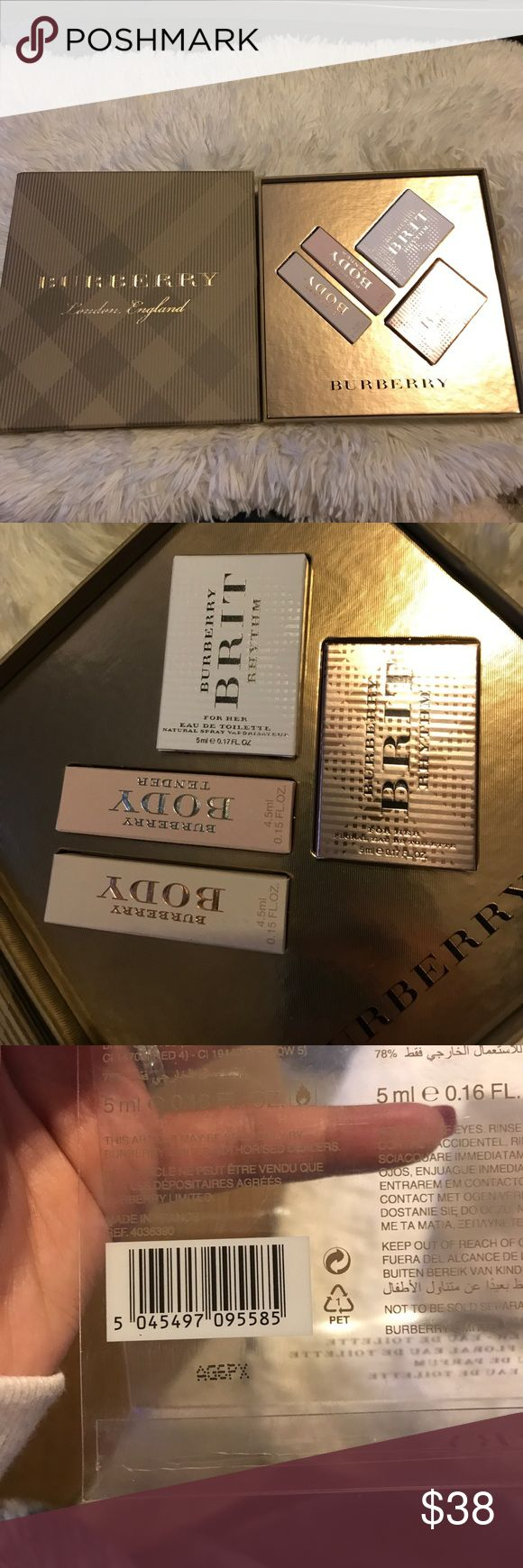 AUTHENITC BURBERRY LONDON THE COLLECTION FOR WOMEN Cute little mini set of Burberry perfumes: BURBERRY BRIT RHYTHM FOR HER 5ml (2) BODY PERFUME (1) 4.5ml and BODY TOILETTE (1) 4.5ml. Super cute gift set Burberry Makeup