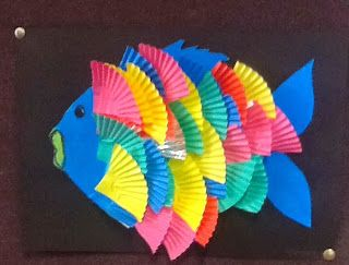 Using coloured cup cake papers to make a fraction rainbow fish #maths #fraction #fun #learning