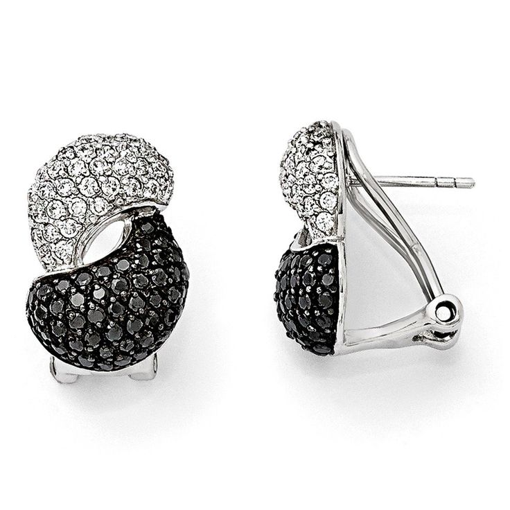 Sterling Silver & Black Rhodium Black & White CZ Omega Back Earrings. Crafted in Genuine Sterling Silver. Distinctive design. Makes a wonderful gift. Free gift box with every purchase. No hassle 30 day money back guarantee.