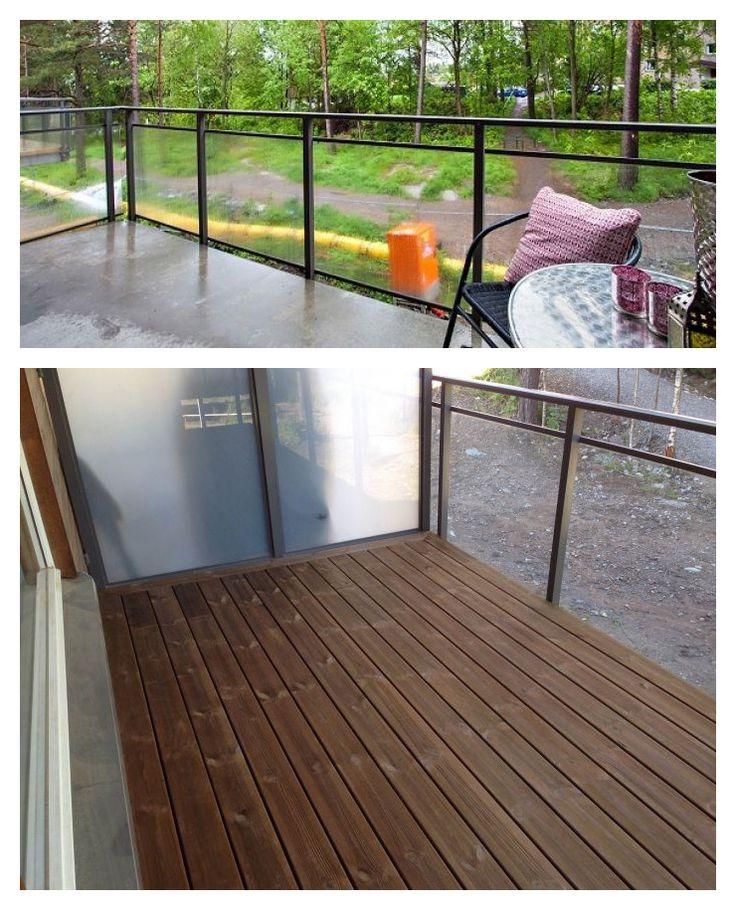 Her er det lagt #terrassebord i #kebony på #balkong som opprinnelig hadde betonggulv.