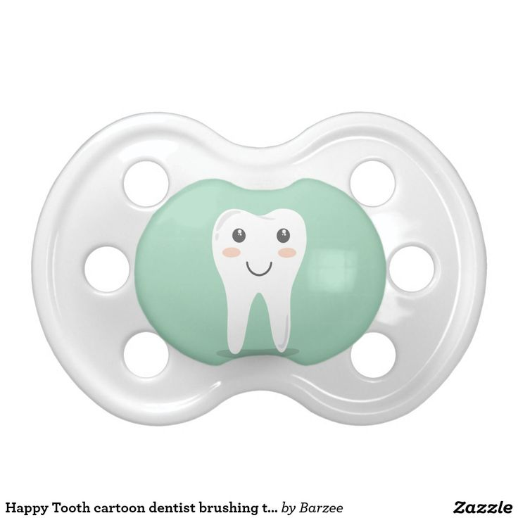 Happy Tooth cartoon dentist brushing toothbrush Pacifiers