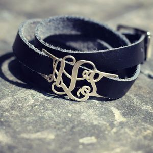Personalised Leather Wrap Monogram Bracelet - monogram & script