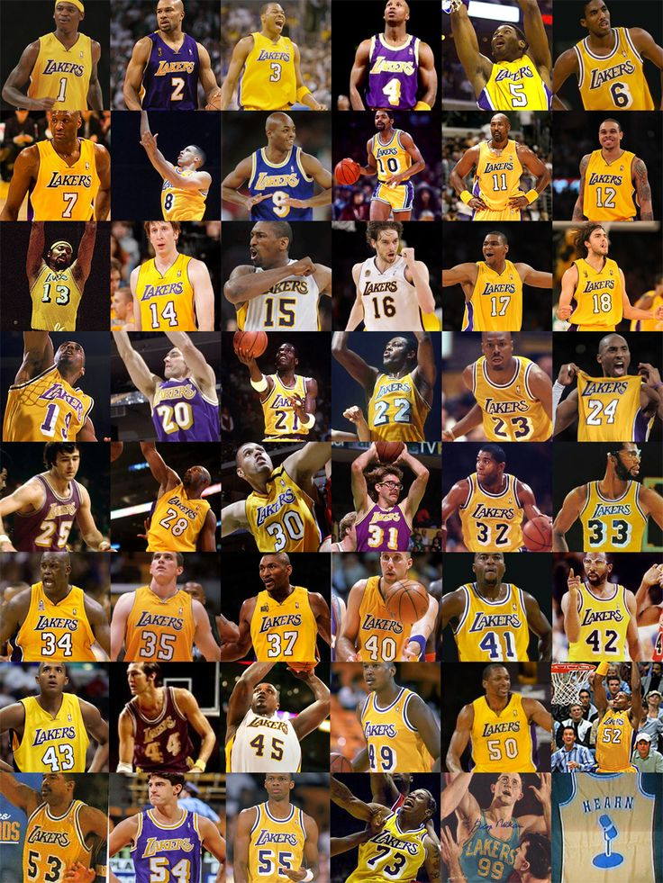 The Lakers in numerical order.
