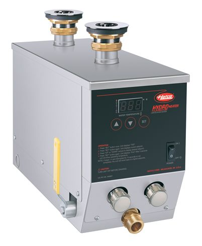 The patented Hatco Hydro-Heater Food Rethermalizer/Bain-Marie Heaters (model shown: FR2-6) feature a tubular water chamber with heating elements uniquely wrapped outside the flow tube so elements do not come in contact with the water, eliminating sediment and lime buildup, resulting in longer life. Series FR2 available in North America ONLY. Click to learn more.
