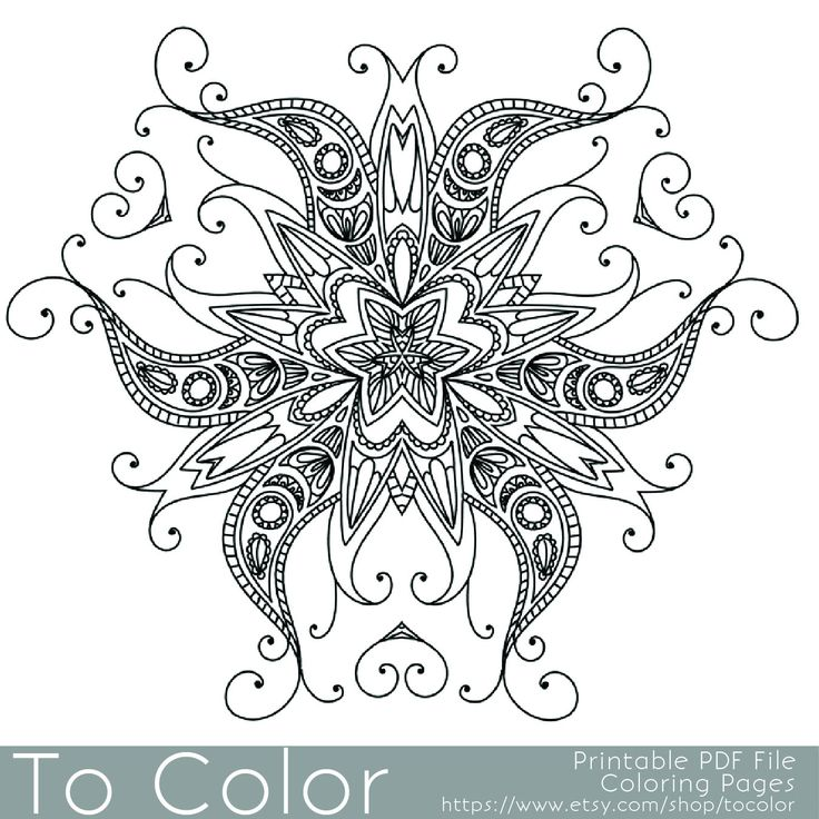 Intricate Printable Coloring Pages For Adults Gel Pens Henna Pattern PDF JPG