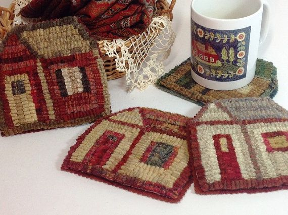 Rug Hooking Pattern Little House Mug Rugs by my friend Mary Johnson of DesignsInWool on Etsy!