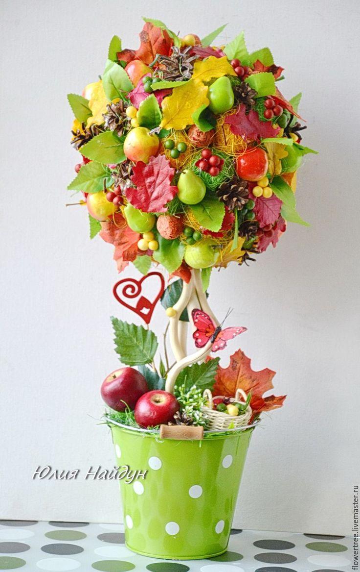 """Купить Топиарий """"Осень"""" ручной работы (дерево счастья) 52 см - разноцветный"""