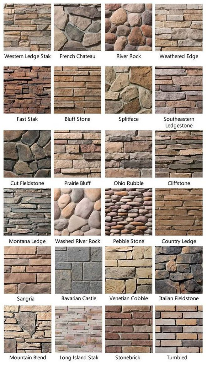 Stone Types. How to choose stone for your home exterior, fireplaces and more. Stone Type Photos. List of Stone Types. Western Legde Stak Stone. French Chateau Stone. River Rock Stone. Weathered Edge Stone. Weathered Edge Stone. Fast Stack Stone. Bluff Stone. Splitface stone. Southeastern Ledgestone. Cut Fieldstone. Prairie Bluff Stone. Ohio Rubble Stone. Cliffstone. Montana Ledge Stone. Washed River Rock Stone. Washed River Rock. Pebble Stone. Country Ledge Stone. Sangria Stone. Bavarian…