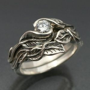leaf engagement ring and wedding band together